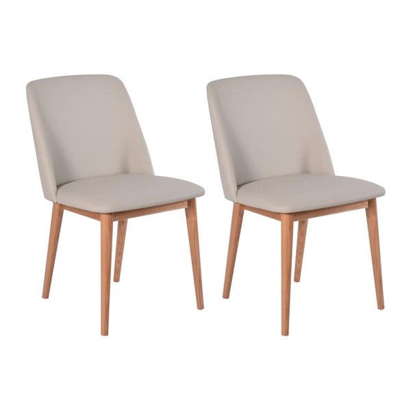 Sada 2 béžových stoličiek s dubovým podnožím RGE Perstorp