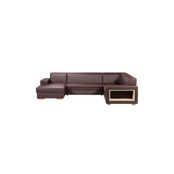 Rozkládací pohovka A-Maze s úložným prostorem 305 cm, čokoláda, levá strana
