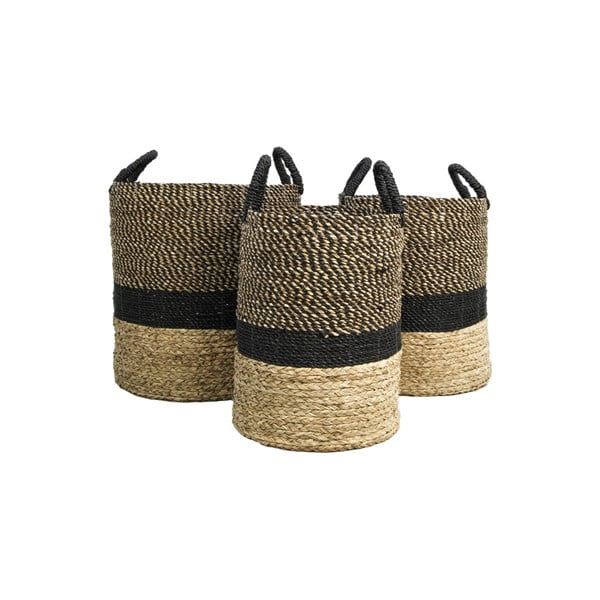 Komplet 3 koszyków do przechowywania z hiacyntu wodnego HSM collection Natural Black
