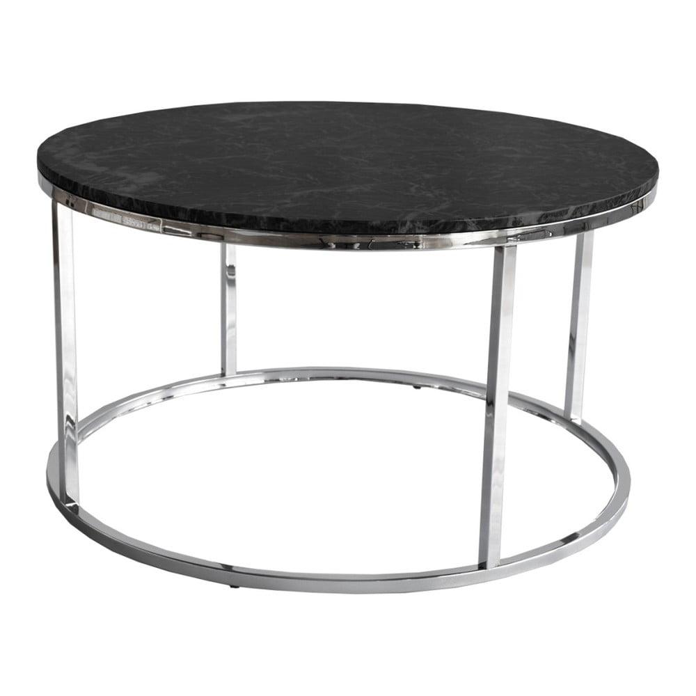 Černý žulový konferenční stolek s chromovaným podnožím RGE Accent, ⌀85cm