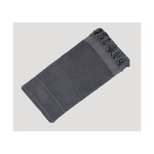 Tmavě šedá ručně tkaná osuška z prémiové bavlny Homemania Turkish Hammam, 90 x 180 cm