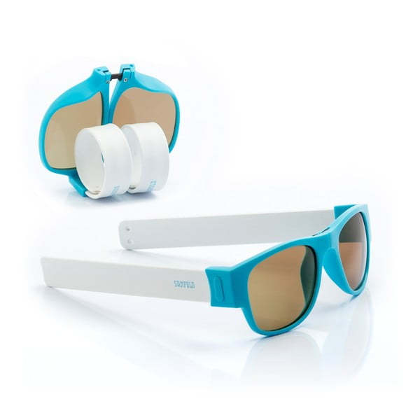 Ochelari de soare pliabili InnovaGoods Sunfold PA2, albastru - alb