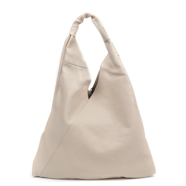 Béžová kožená kabelka Anna Luchini Hasico