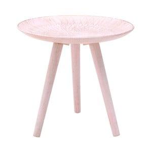 Růžový odkládací stolek zbřezového dřeva InArt Antique, ⌀40cm