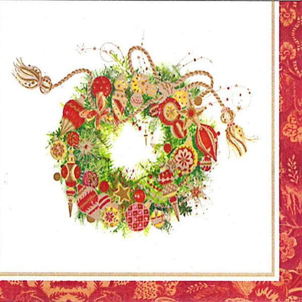 Balení 10 papírových ubrousků s vánočním motivem PPD Spirit Wreath