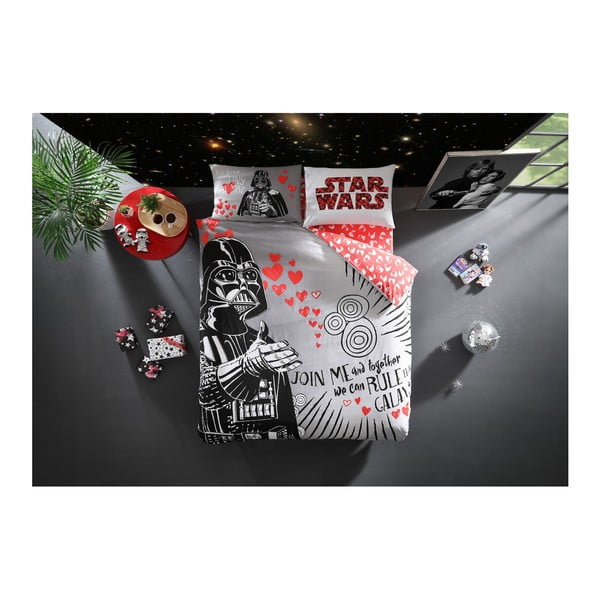 Lenjerie de pat cu cearşaf din bumbac Lovely Darth Licensed, 200 x 220 cm