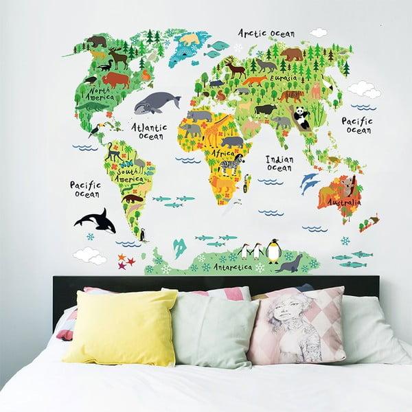 Nástěnná dětská samolepka Ambiance World Map, 73 x 95 cm
