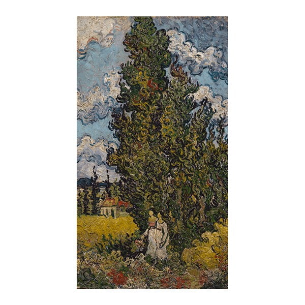Obraz Vincenta van Gogha - Cypresses and Two Women, 55x33 cm