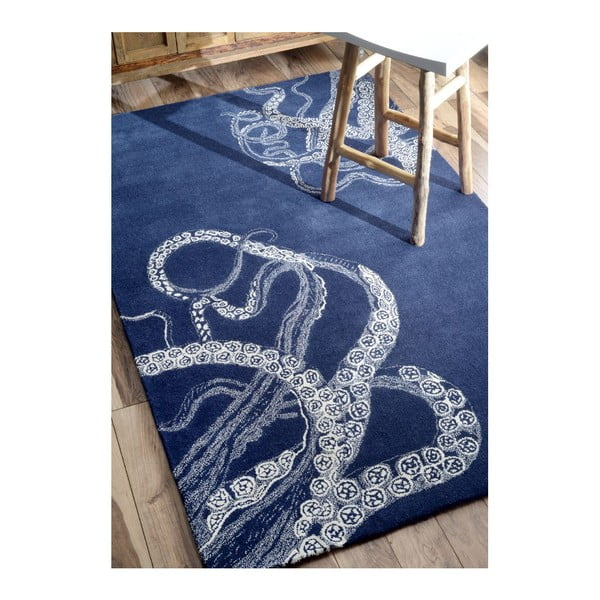 Ručně tuftovaný koberec nuLOOM Deep Navy, 122x182cm