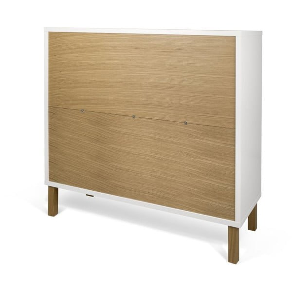 Bílá komoda s dřevěnými nohami TemaHome Niche Oak