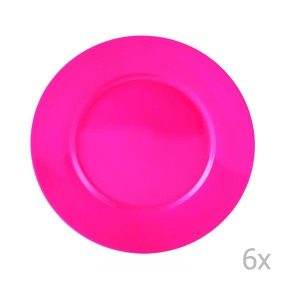 Efrasia 6 db-os sötét rózsaszín porcelán tányérkészlet