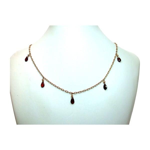 Zlatý náhrdelník Garnet Teardrop (granát)