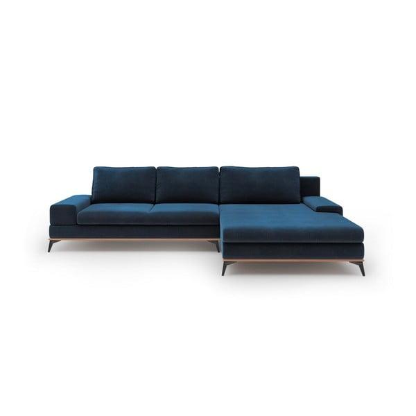 Colțar extensibil cu tapițerie de catifea și șezlong pe partea dreaptă Windsor & Co Sofas Astre, albastru