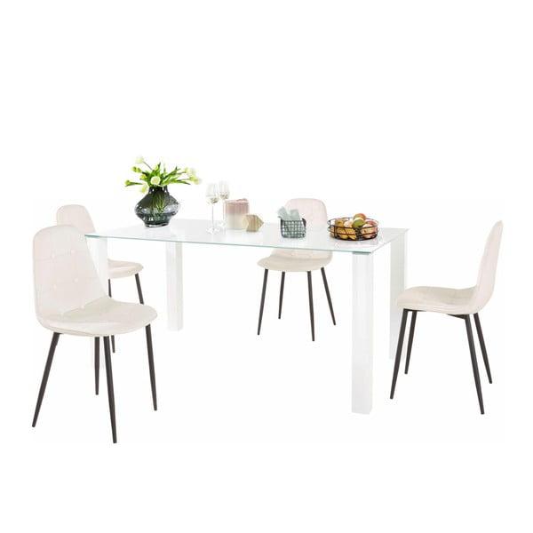 Sada jídelního stolu a 4 bílých židlí Støraa Dante, délka stolu 160cm