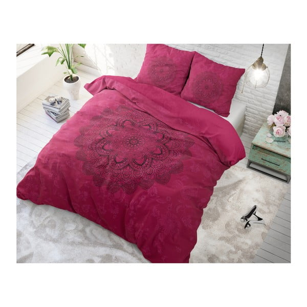 Růžové bavlněné povlečení na dvoulůžko Sleeptime Kaleido, 200 x 220 cm