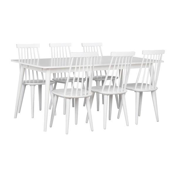 Bílý jídelní stůl s deskou v dubovém dekoru Folke Pan, 180x90cm