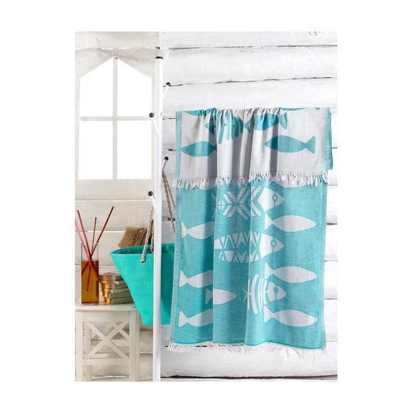 Tyrkysově modrý ručník Balik, 180 x 100 cm