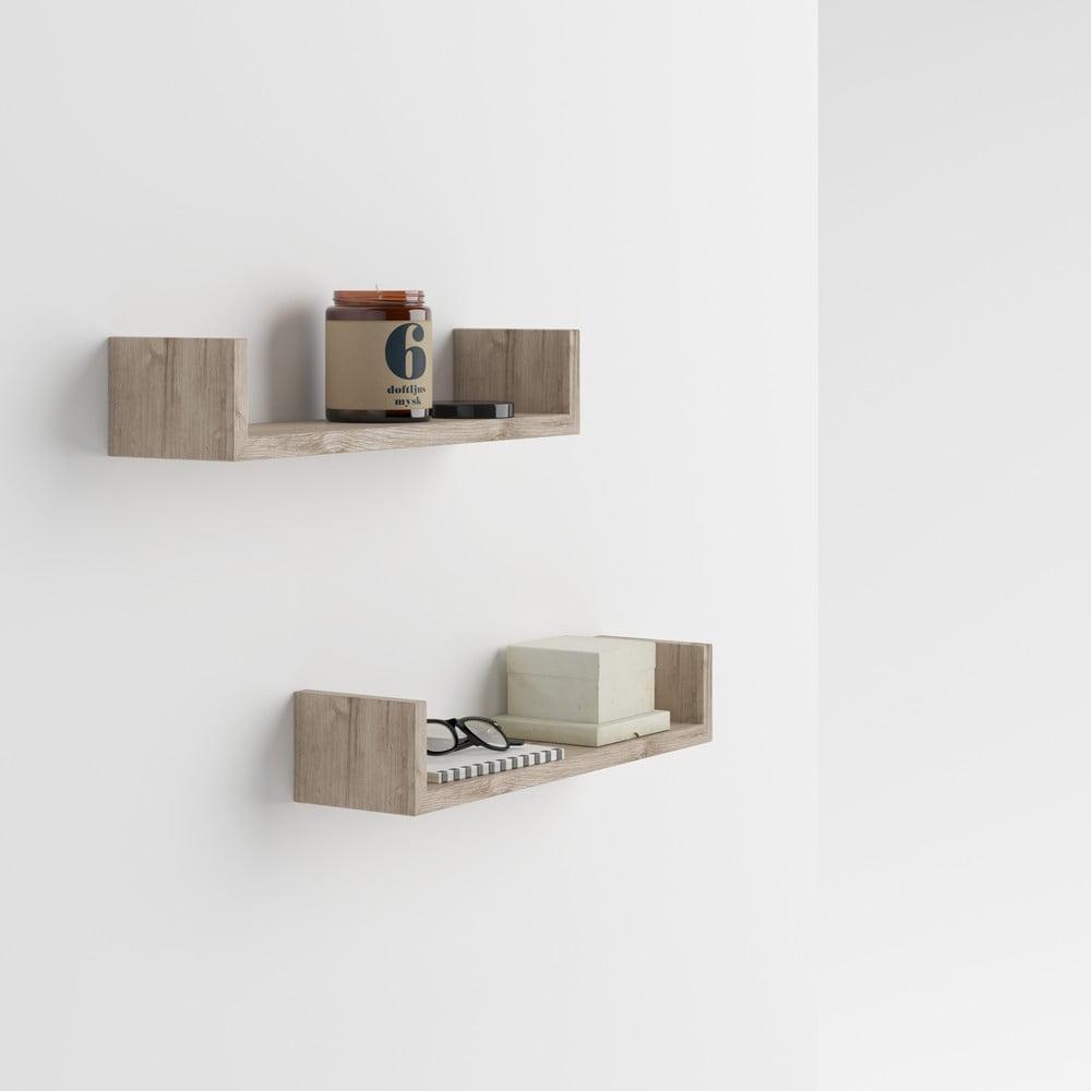 Fotografie Sada 2 nástěnných poliček v dekoru dubového dřeva MobiliFiver MenaciU