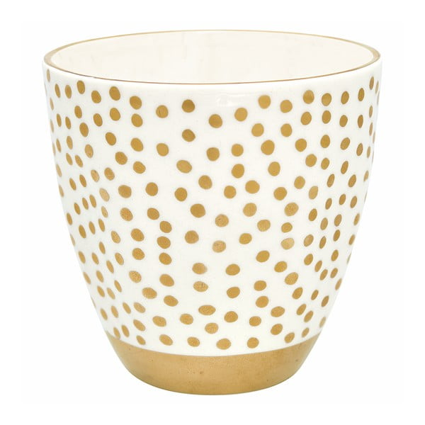 Ceașcă din ceramică Green Gate Dot, alb cu puncte aurii