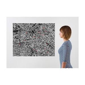 Černá nástěnná mapa Palomar Pin Berlín