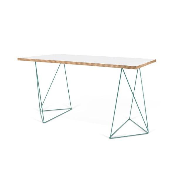 Bílý pracovní stůl se zelenými nohami TemaHome Flow