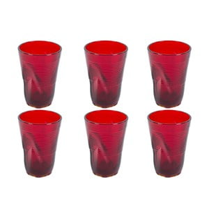 Sada 6 červených sklenic Kaleidos, 340ml