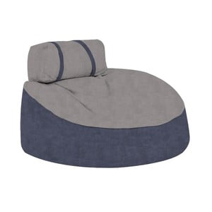 Modrý sedací puf se šedým vrškem Poufomania Cookie