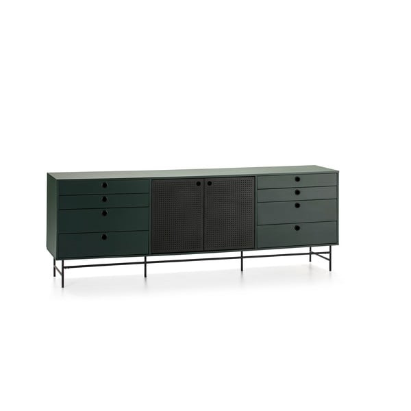 Comodă Teulat Punto, lungime 212 cm, negru-verde