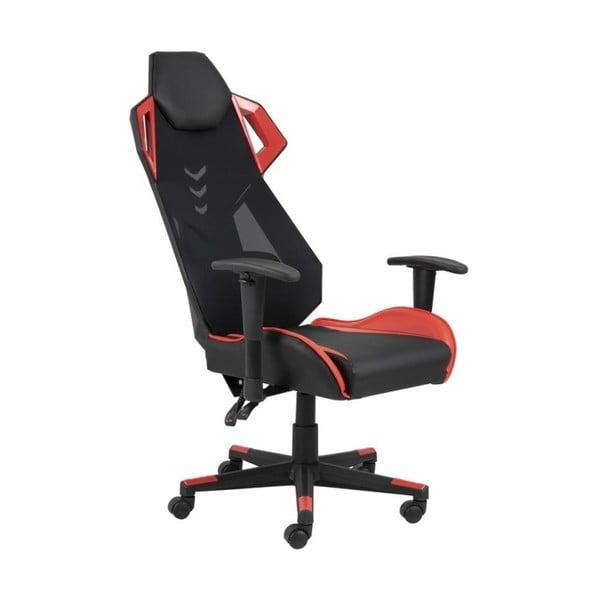 Czarno-czerwone krzesło biurowe na kółkach Actona Kevin