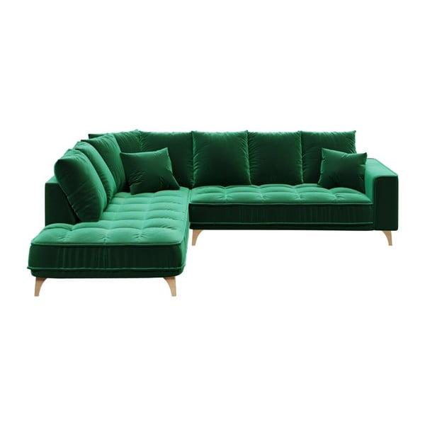 Colțar cu șezlong pe partea stângă devichy Chloe, verde închis