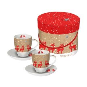 Sada 2 šálků z kostního porcelánu na espresso s vánočním motivem v dárkovém balení PPD Make a Wish, 100 ml