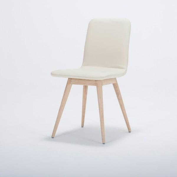Jídelní židle z masivního dubového dřeva s koženým bílým sedákem Gazzda Ena