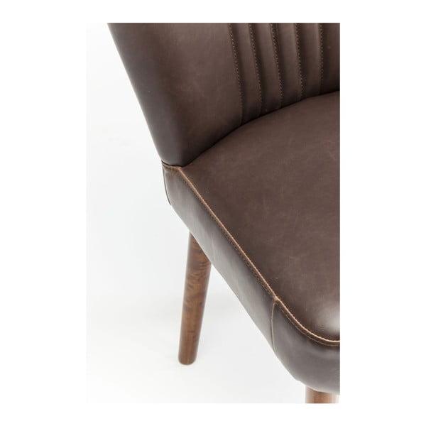 Scaun din piele cu structură din lemn de mesteacăn Kare Design Filou, maro