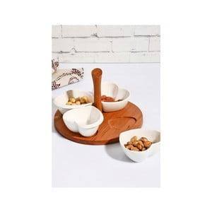 Sada 4 bílých porcelánových mističek s bambusovým podnosem Kutahya Carol