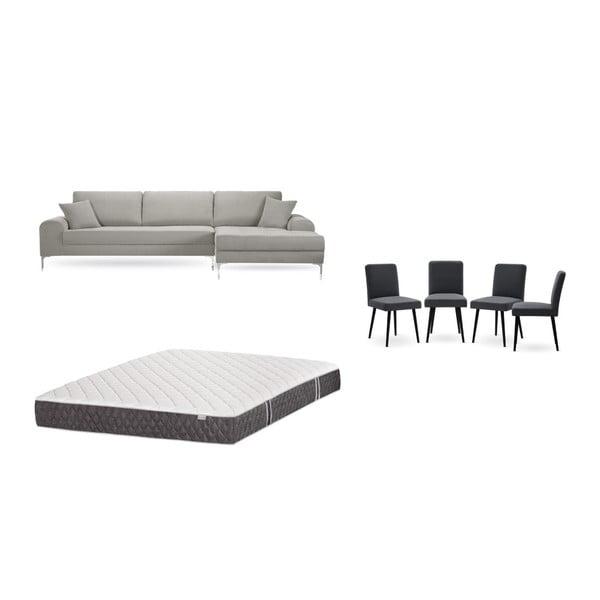 Set canapea gri deschis cu șezlong pe partea dreaptă, 4 scaune gri antracit și saltea 160 x 200 cm Home Essentials