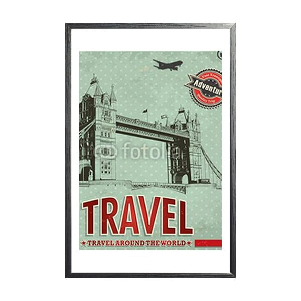 Zarámovaný plakát Vintage Travel London, černý rám