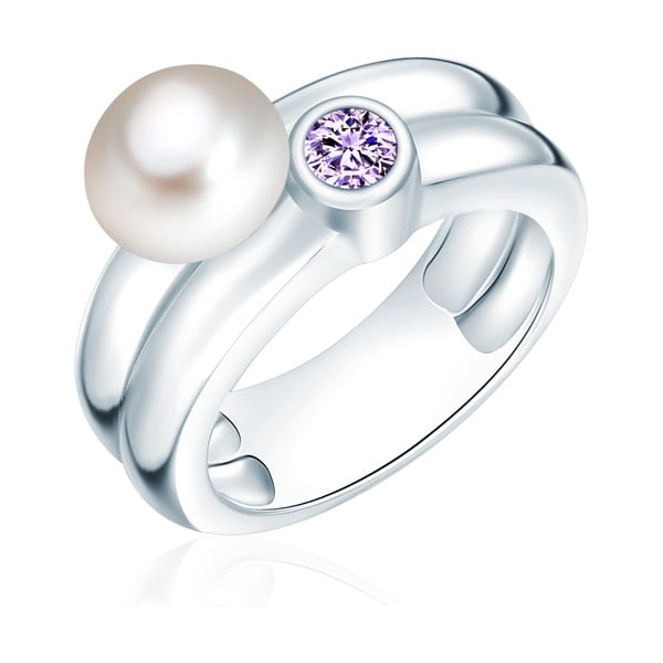 Prsten s perlou a zirkonem Nova Pearls Copenhagen Lynkeus, vel. 52