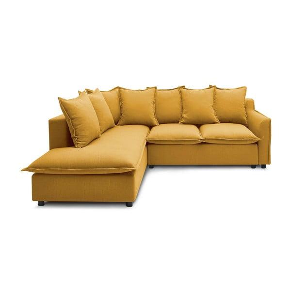 Žlutá rozkládací rohová pohovka Bobochic Paris Mona L, levý roh