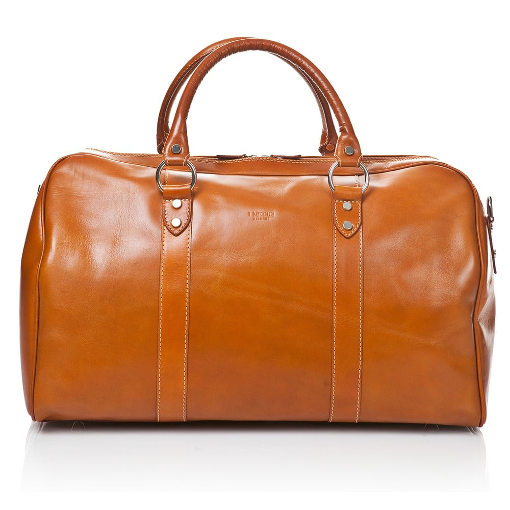 Medově hnědá kožená cestovní taška Medici of Florence Tommaso