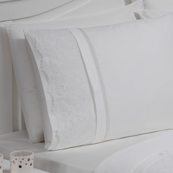 Povlečení Ezgi Cream, 220x240 cm (s prostěradlem a 4 povlaky na polštář)