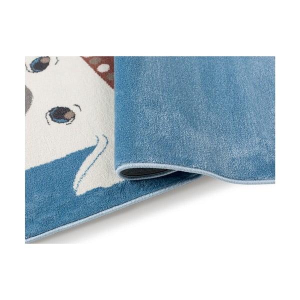 Tmavě modrý koberec s motivem psa KICOTI, 80 x 150 cm