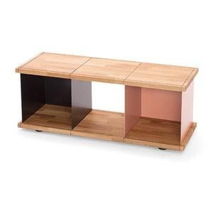Nízká skříňka z dubového dřeva s růžovou přihrádkou Konstantin Slawinski YU