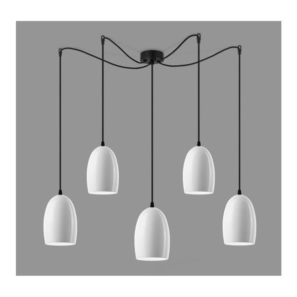 Bílé lesklé stropní svítidlo s pěti stínidly s černým kabelem Sotto Luce Ume