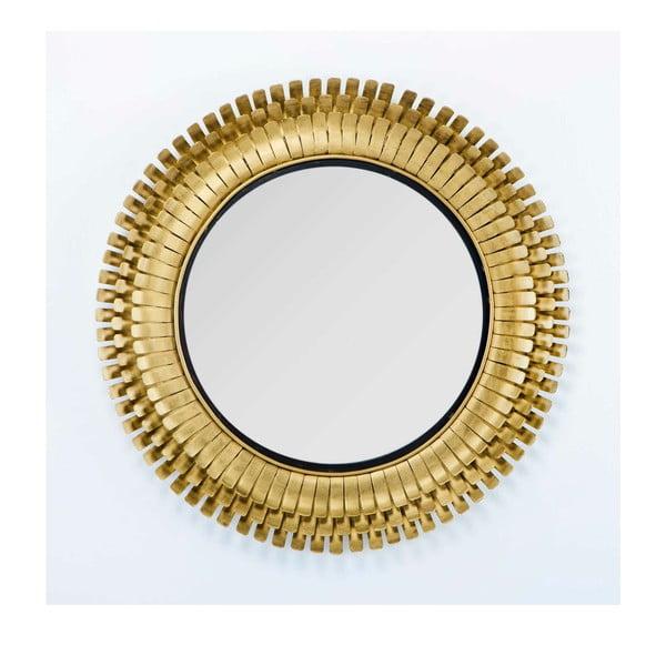 Nástěnné zrcadlo s rámem ve zlaté barvě Thai Natura, ∅91cm