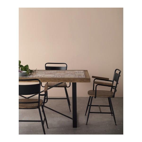 Kovová jídelní židle s dřevěným sedákem Geese