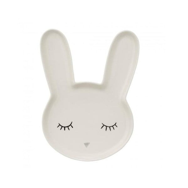 Biely detský tanier z kameniny Bloomingville Smilla Bunny