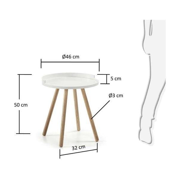 Bílý odkládací stolek La Forma Bruk,46cm