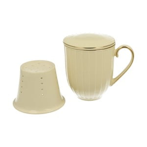 Bílý porcelánový hrnek s porcelánovým sítkem Duo Gift Nina, 400 ml