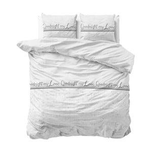 Lenjerie de pat din micropercal Sleeptime Goodnight my Love, 240 x 220 cm, alb