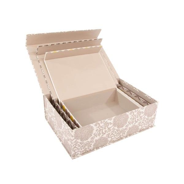 Sada 3 úložných krabic Grey Ornament